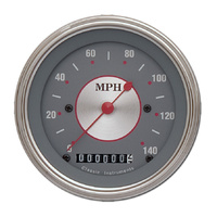 "Classic Instruments (SS55SLF) Silver Series 3 3/8"" Speedometer 140 MPH"