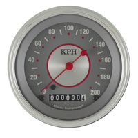 "Classic Instruments (SS59SLF) Silver Series 3 3/8"" Speedometer 200 KPH"
