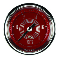 "Classic Instruments (V8RS130SHC) V8 Red Steelie 2 1/8"" Full Sweep Volt"