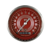 "Classic Instruments (V8RS55SHC) V8 Red Steelie 3 3/8"" Speedometer 140 MPH"