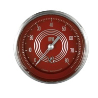 "Classic Instruments (V8RS80SHC) V8 Red Steelie 3 3/8"" Tachometer 6K RPM"