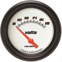 "Classic Instruments VS230WBPF Velocity White 2-5/8"" Volt Gauge Short Sweep 0-18v"