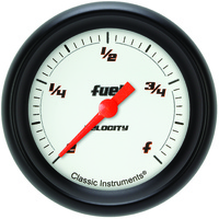 "Classic Instruments (VS309WBPF) Velocity White 2 5/8"" Fuel Gauge"