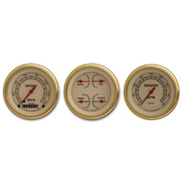 Classic Instruments (VT03GLF) Vintage Series Three Gauge Set with Gold Bezels