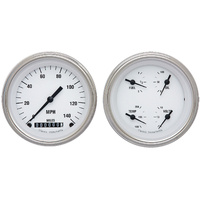 "Classic Instruments (WH02SLF) White Hot 2 Gauge Set 3 3/8"" Speedo & Quad"