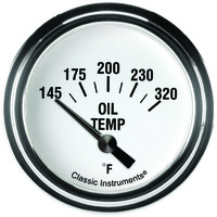 "Classic Instruments (WH228SLF) White Hot 2 5/8"" Oil Temp. Short Sweep"