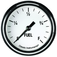 "Classic Instruments (WH309SLF) White Hot 2 5/8"" Fuel Gauge"